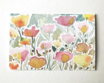 "Original Watercolor - ""Tiny World Flowers"""