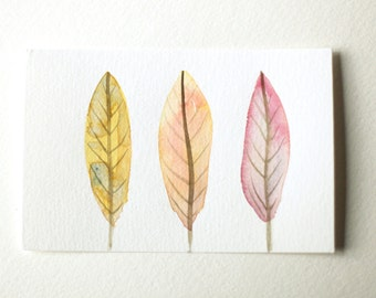 """Original Watercolor - """"Feathers One Two Three"""""""