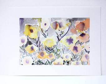 """Original Watercolor - """"Gold and Plum"""""""