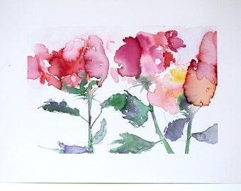 """Original Watercolor - """"Biggest Roses"""""""
