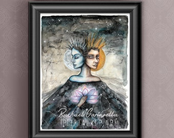 Duality -9x12  Mixed Media Original - Watercolor Painting - Alchemical Medieval Sun and Moon - Portrait of woman