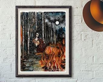 Giclee art print - Lion and Woman - Fearless - Tree Talker art - Tree Painting- Galaxy art - Strength