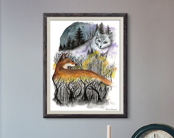 Giclée Art Print - Fox Watercolor Art-  Mixed Media - By Rachael Caringella Tree Talker Art