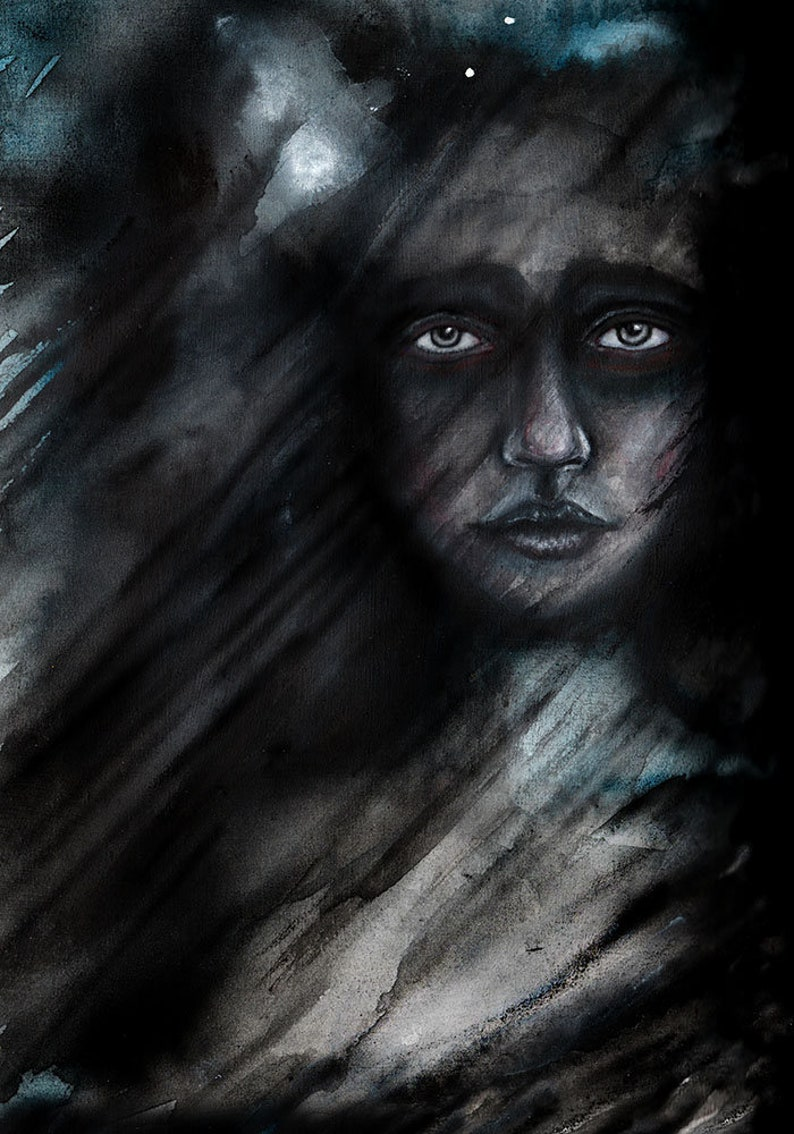 Rachael Caringella Giclee Fine Art Print Hazy Mixed Media Painting Painting of Woman