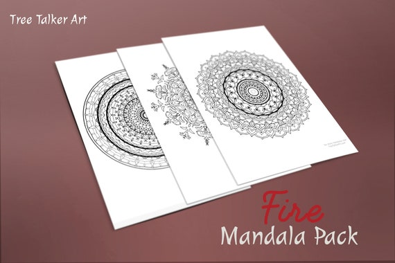 mandala coloring pages pack of 3 fire element etsy