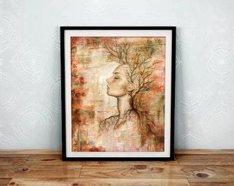 11x14 Giclée Art Print - Tree Of Life -  Large Mixed Media Woman Portrait