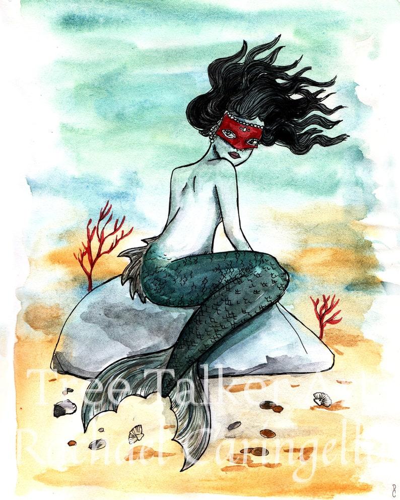 Watercolor and Ink Illustration of Diana Giclee Art Print by Rachael Caringella Tree Talker Art Fine Art Print of Goddess Olokun