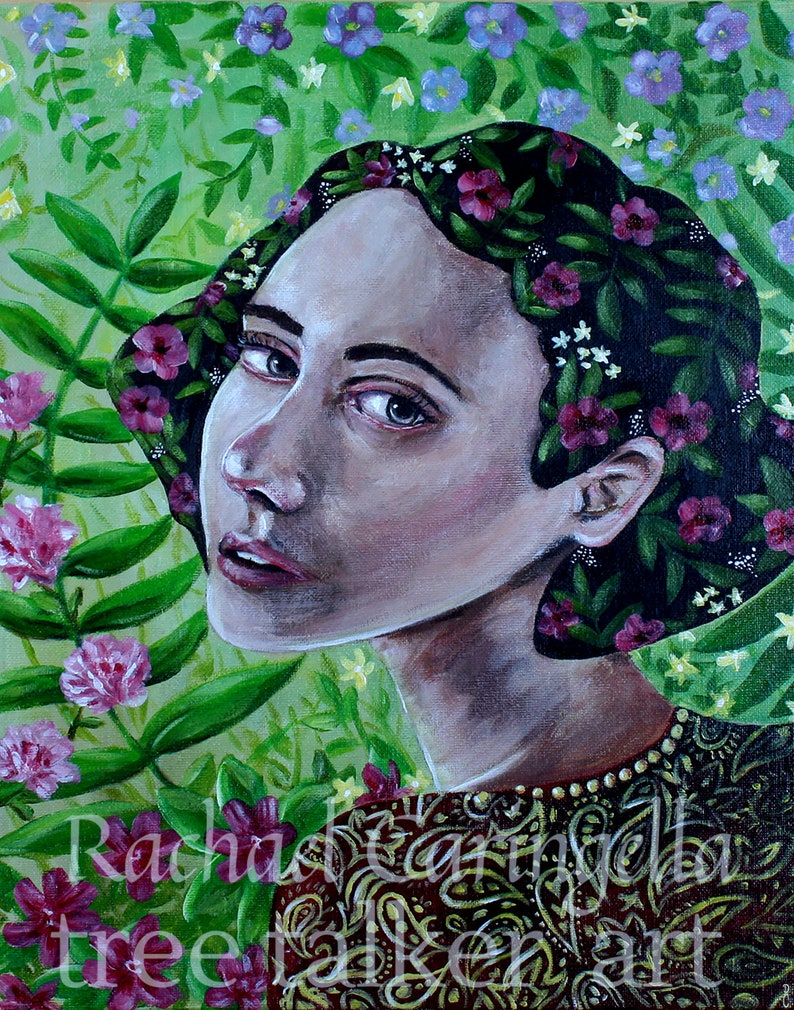 Tree Talker Art Acrylic Painting Original Painting Made of Flowers Floral Woman Woman Portrait
