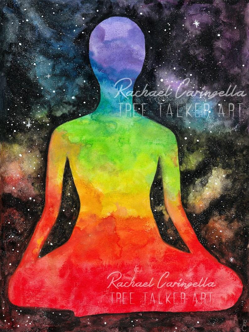 Meditation Art Chakra Galaxy Painting Tree Talker art Rainbow  Galaxy art Giclee art print