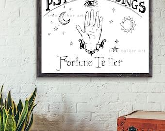 Psychic Reader Sign - Vintage Style Fortune Teller Sign - Giclee Art Print
