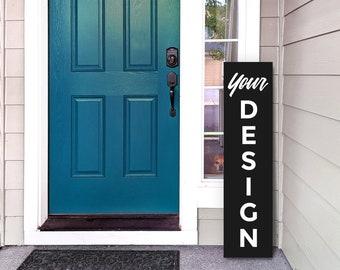Vertical Porch Sign Mockup on Editable Plain Color Background