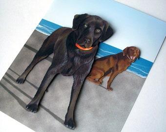 Custom Pet Portrait - 3D Paper Art based on your Photos