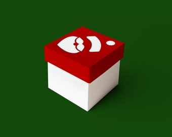 Santa Claus Face Cube Box With Lid SVG Design