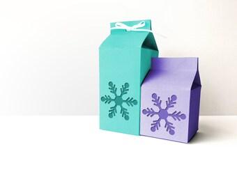 Milk Carton Boxes with Snowflake Cutout SVG Design