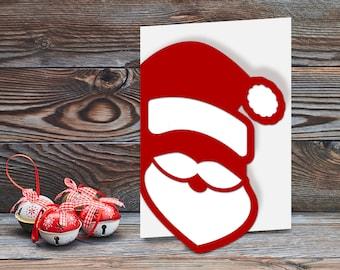 Santa Claus Face Papercut Card SVG Cutting Template