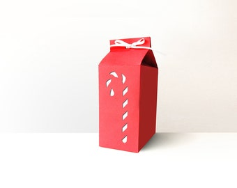 Christmas Candy Cane Milk Carton Box SVG Design