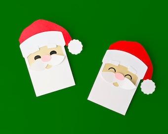 Santa Claus Face Gift Card Holder SVG Design