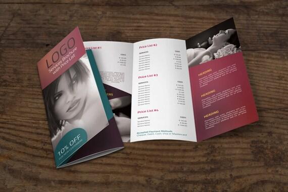 tri fold brochure template w price list etsy