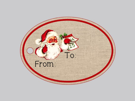 set of 8 christmas tags holiday gift tags santa claus gift etsy