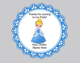 Set of 16 Tags Birthday Tags Thank you tags, Personalized tags, Baby Cinderella Tags, Cinderella thank you tags, Cinderella Bag Tags,
