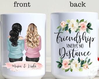 Friendship Knows No Distance, Best Friend Mug, Personalized Best Friend Gift, Custom Girlfriend Mug, Long Distance Gift, Best Friend Mug Bff