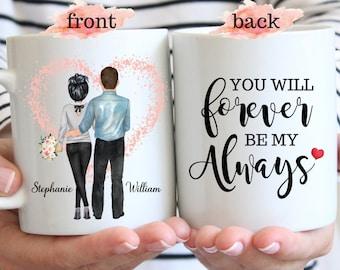 Forever And Always, Valentines Day Gift For Him, Gift For Her, Custom Couple Mug, Anniversary Gift, Custom Gift For Husband, Boyfriend Gift