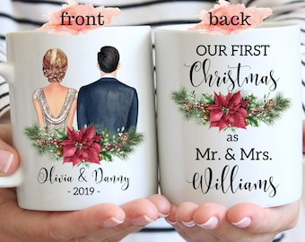 First Christmas Married Gift As Mr. And Mrs. Custom Wedding First Year Married Mugs Personalized Newlywed Poinsettia Wreath Mugs For Couple