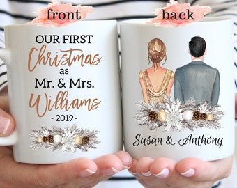 First Christmas Married Mug, Our First Christmas As Mr And Mrs, Custom First Year Married Mugs, Couple Christmas Gift, Wife And Husband Gift
