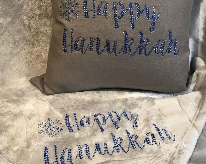 Happy Hanukkah Pillow and Blanket