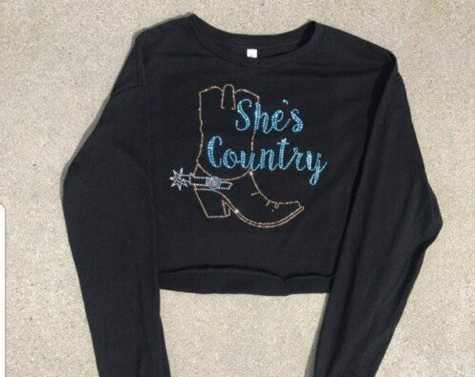 She's Country Long Sleeve Crop