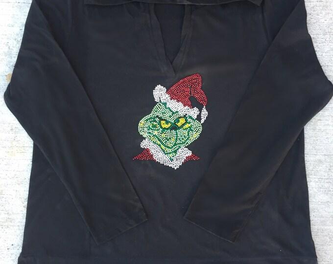 Woman's Long Sleeve Rhinestone Christmas Grinch Shirt. Austria Crystals. Bling Grinch Shirt