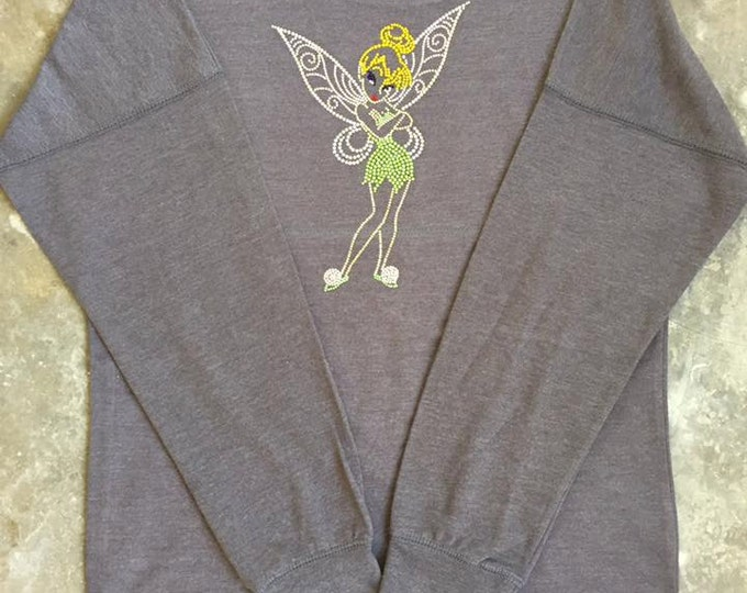 Tinkerbell Sweatshirt, Disney Tinkerbell Sweatshirt, Disney Sweatshirt, Rhinestone Sweatshirt, Bling, Junior Sweatshirt