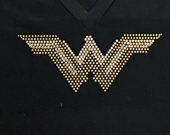 Wonder Woman Tank, Rhinestone Hero Tank, Superhero Tank, Bling Wonder Woman Shirt