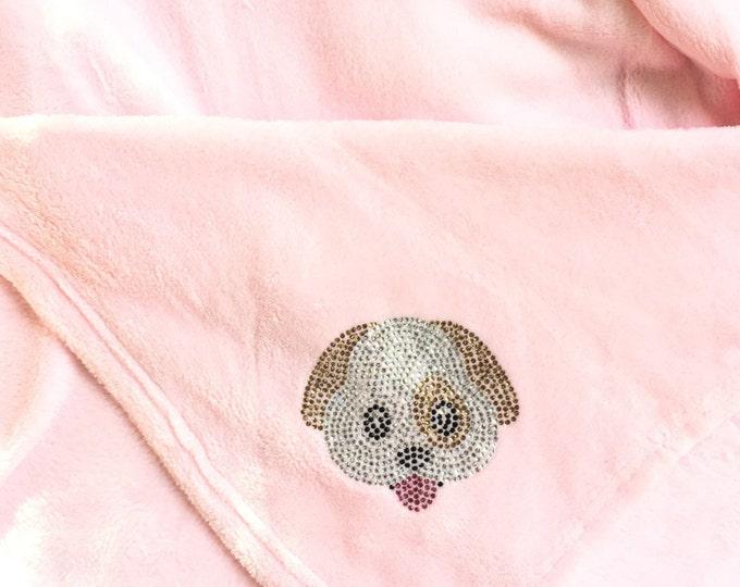 Dog Emoji Blanket, Puppy Emoji Blanket, Dog Emoji, Rhinestone Blanket