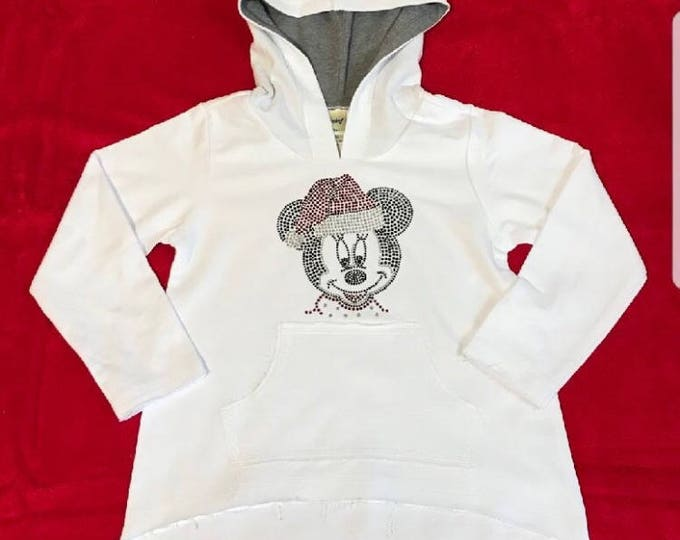 Holiday Minnie Mouse  with Santa Hat on pullover Hoodie Kids
