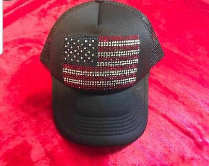 Patriotic Black Trucker Hat