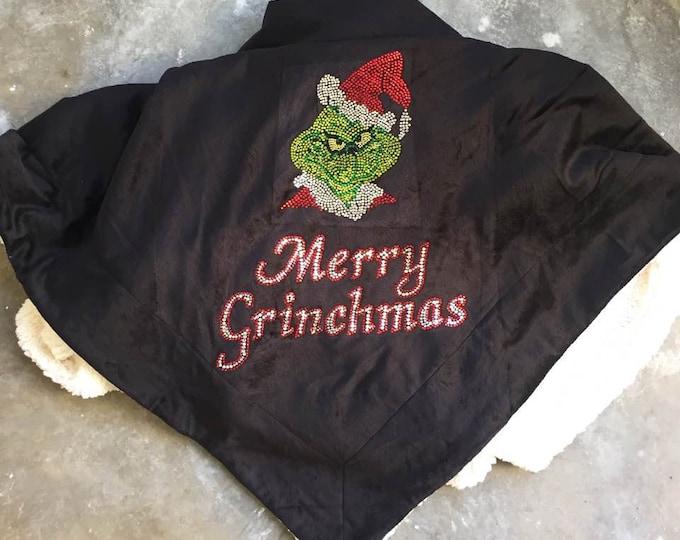 Merry Grinchmas Blanket, Merry Grinchmas Sherpa, Grinch Blanket, Rhinestone Blanket, Christmas