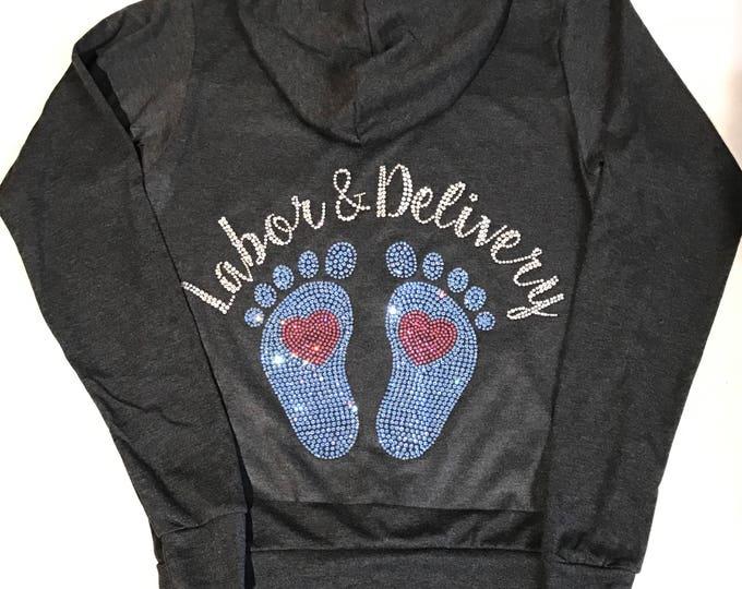 Nurse Sweatshirt, Labor & Delivery Sweatshirt, Post Partum Sweatshirt, Rhinestone Baby Feet, Bling Baby Sweatshirt