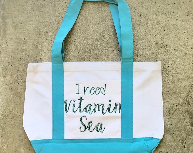 I Need Vitamin Sea Tote, Vitamin Sea Tote, Rhinestone Tote Bag