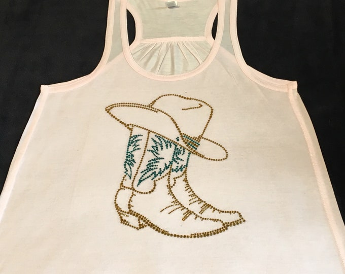 Cowgirl Boots and Hat Tank