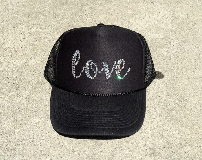 Love hat, all you need is love, rhinestone trucker hat
