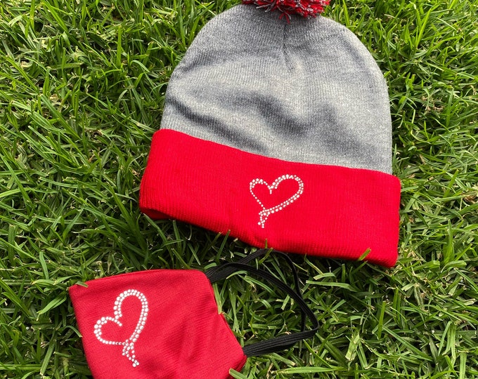 Heart Beanie & Mask Set, Beanie and Mask Set, Valentine's Day hat and mask