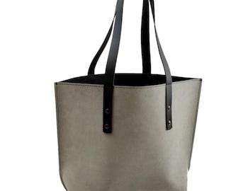 6f5f3e3e9452 Newport Classic Leather Tote in White Suede   Black Excel Interior - Medium
