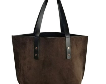 a7803d8954cf Newport Classic Leather Tote in Chocolate Suede   Black Excel Interior -  Medium