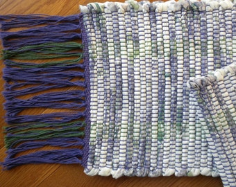 Handwoven Table Runner, Lilac, Green and White
