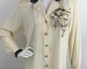 f519d87ee0b3e Vintage Cache Nautical Silk Blouse  90 s Yacht Glam Blouse Nautical  Embroidered Embellished silk Blouse Vintage Cache Silk Blouse
