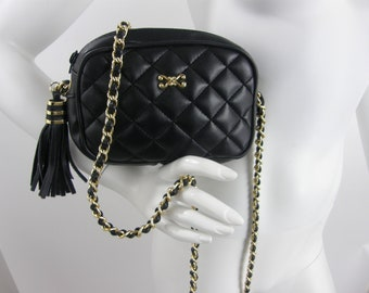 ef89d7e7699f19 Vintage 90s Black Faux Leather Bag/ Small Quilted Chanel Inspire Gold Chain  Purse/Vegan Shoulder Crossbody Tassel Bag/Classic Chanel Wannabe