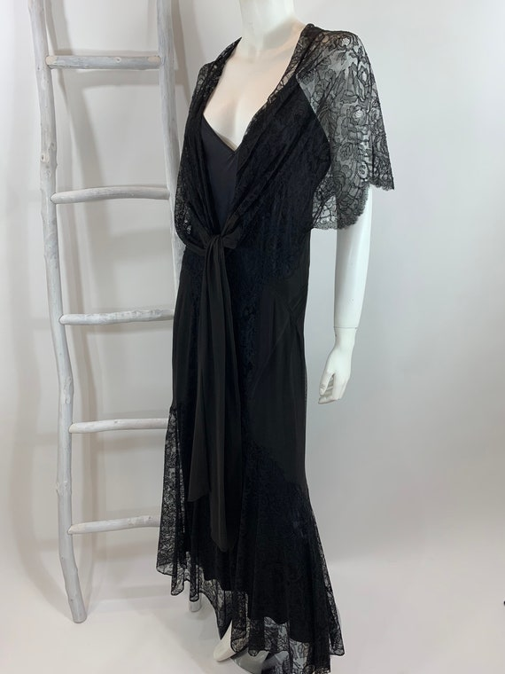 Vintage 1930's Black Sheer Lace Gown Sheer Silk Ov