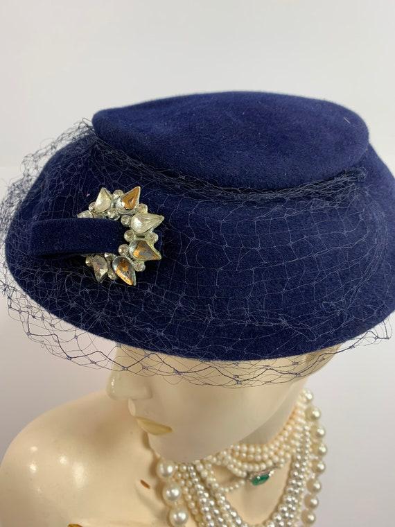 Vintage 1950s Blue Phipps Wool Felt Hat 1960s Sauc
