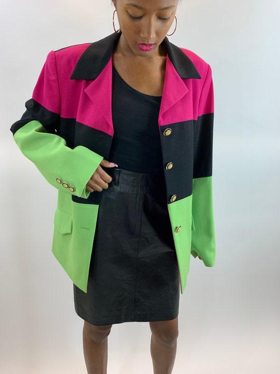 Vintage 1990's Color Block Blazer 1980s George Sim